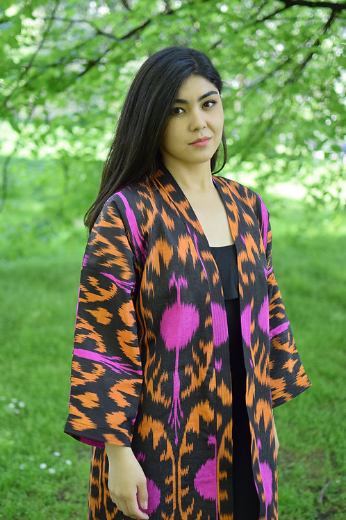 Silk pomegranate ikat chapan or kaftan