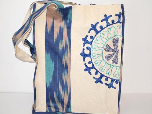 Blue handmade, embroidered bag