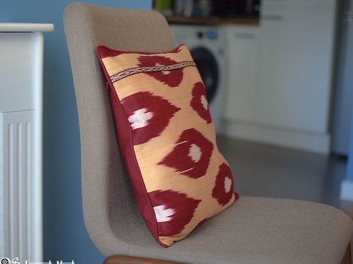 Dark red handwoven, handmade ikat cushion covers with hand embroidered element