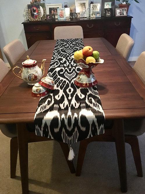 Black and White silk Table Runner