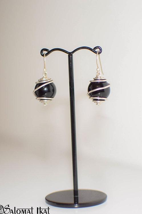 Agate silver spiral earrings