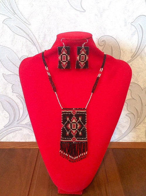 Black, red and golden necklace and earrings set.