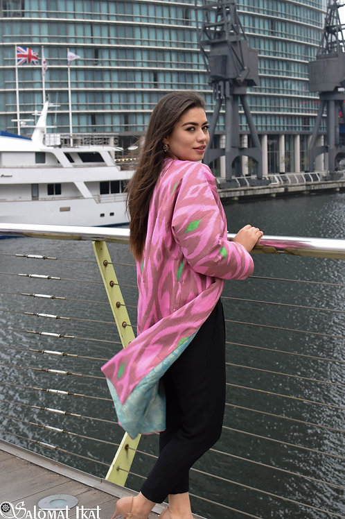 Pink silk ikat kaftan, jacket