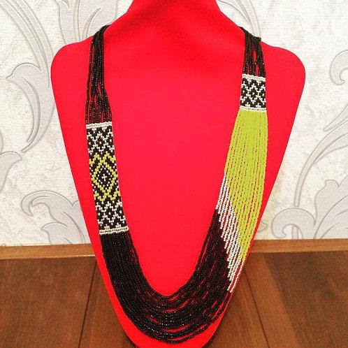 Black & Yellow Beaded Necklace