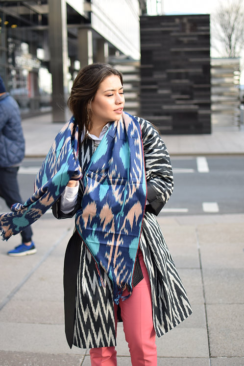 Blue pomegranate long ikat shawl