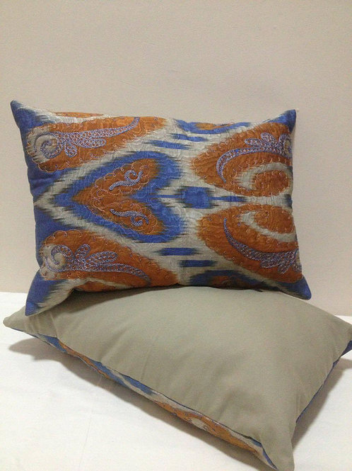 Paisley embroidered ikat cushion covers