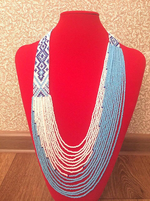 Light blue sky and white clouds Beaded Necklace