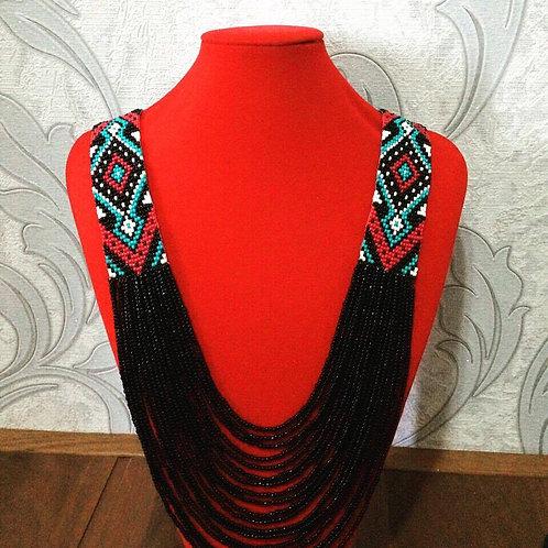 Large Black Beaded Necklace