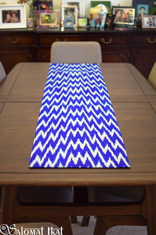 Stripy blue table runner