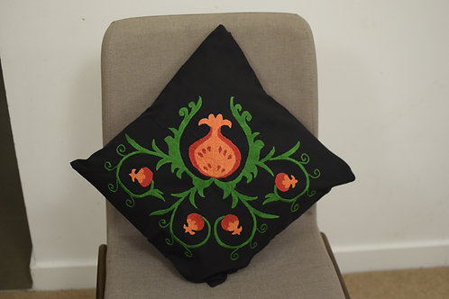 Hand embroidered pomegranate cushion cover