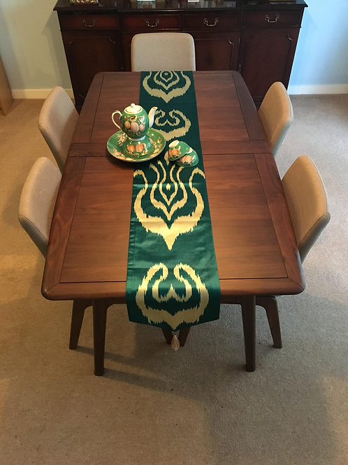 Green silk ikat table runner