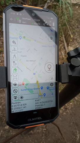 Felmérési képernyő, on-line Google Maps háttérrel