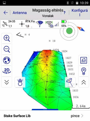 3D-s DTM megjelenítés magassági színkódolással