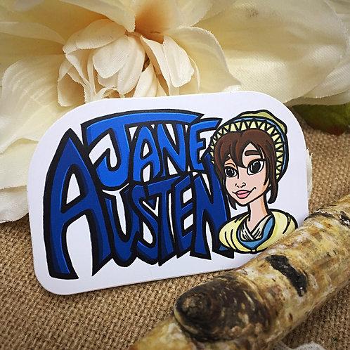 Jane Austen Cartoon Illustration Sticker