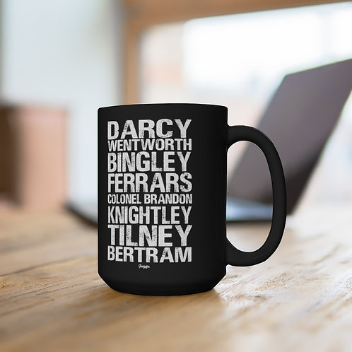 Men of Jane Austen Novels Black Mug - 15oz