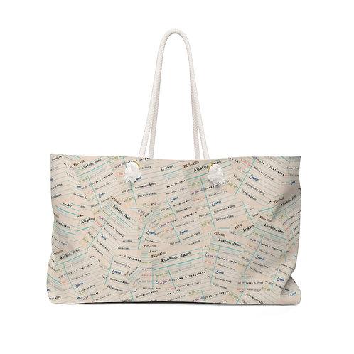 Jane Austen Library Cards Weekender Bag
