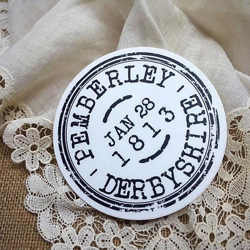Pemberley Cancelled Postage Stamp Sticker from Jane Austen