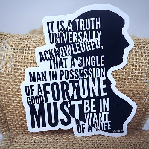 First Lines of Jane Austen's Pride and Prejudice Vinyl Sticker