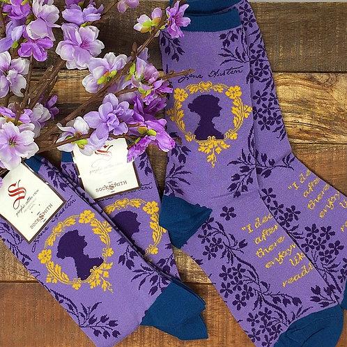 Jane Austen Pride & Prejudice Purple Socks by Socksmith