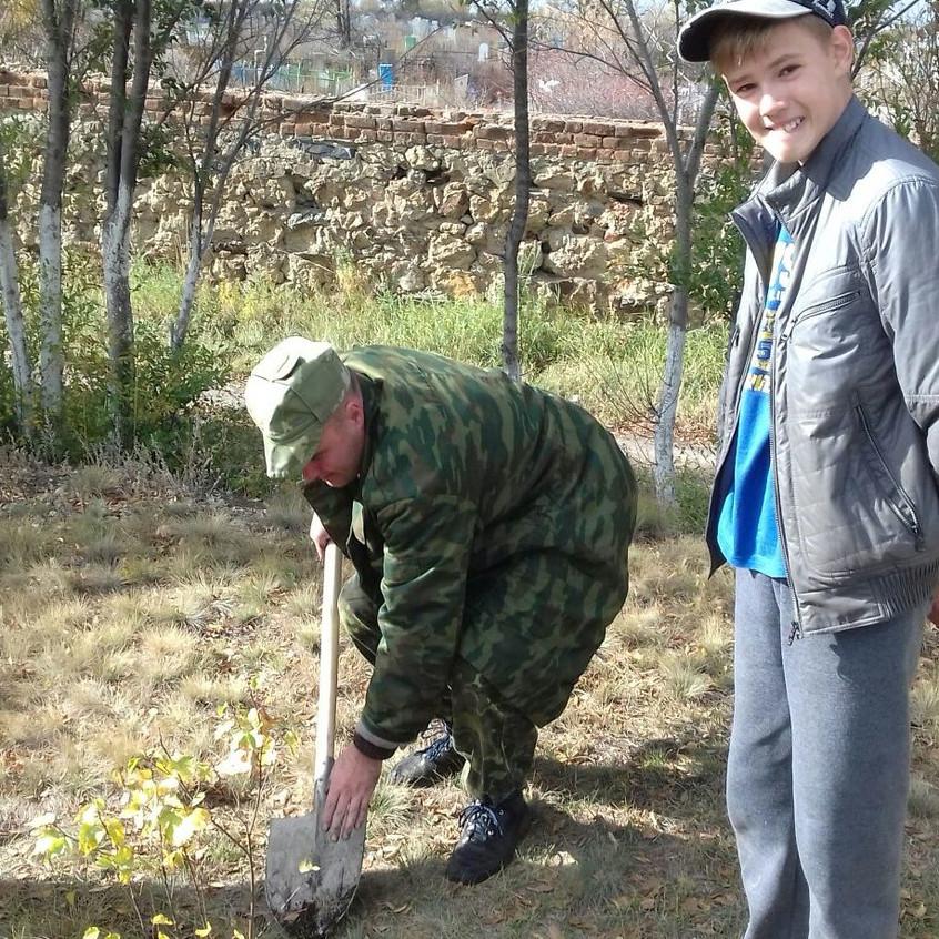 мурашов садит деревце