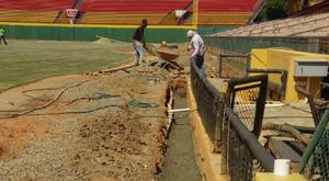 Parte de los trabajos que se realizan en varias áreas del estadio Cibao.