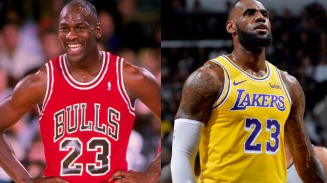 El ex jugador de Chicago Bulls, Michael Jordan, y el actual alero de Los Angeles Lakers, LeBron James