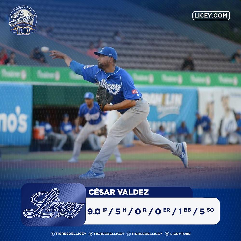 César Valdez lanzó juego completo