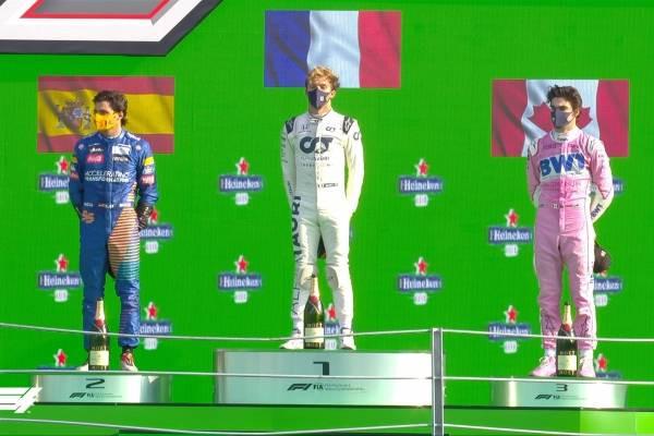 1º P. Gasly (M) AlphaTauri 2º Carlos Sainz (M) McLaren  3º L. Stroll (M) Racing Point
