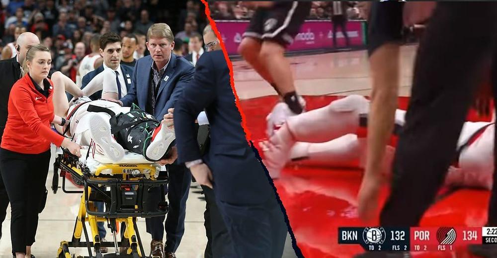 La escalofriante fractura de tibia y peroné de Jusuf Nurkic enfrentando a los Nets