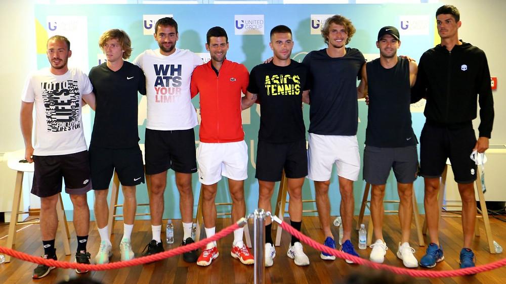 Novak Djokovic y demás tenistas