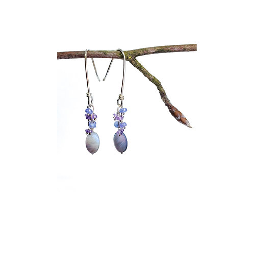 Tanzanite+amethyst earrings