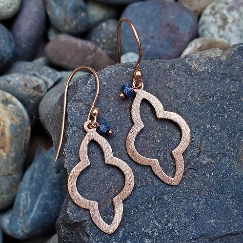 Rose gold +sapphire earrings
