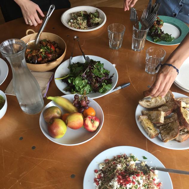 Sharing food at Power up Bristol