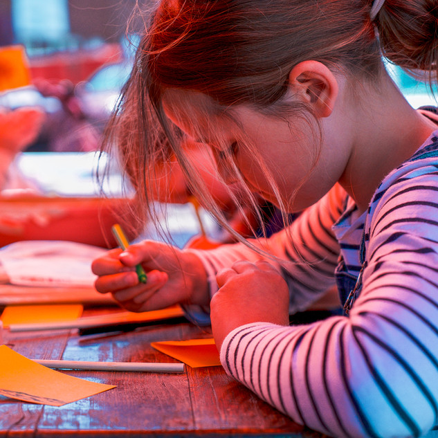 Children drawing at Contains Art