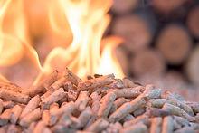 Pellets in flames- oak biomass, close up