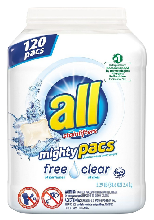 all Mighty Pacs Free & Clear Laundry Detergent | (120 CT)