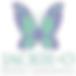 #pracegover: logotipo Jackie O moda feminina, com desenho de borboleta azul