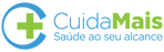 #pracegover logotipo cuida mais, startup e saúde, desenho de cruz verde dentro de círculo azul