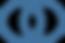 #pracegover: dois circulos azuis, um deles pontilhado, se encontram em sobreposição ao meio, representação do logotipo da make it happen