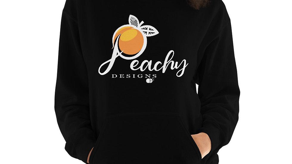 'White' Peachy Designs Logo - Unisex Hoodie