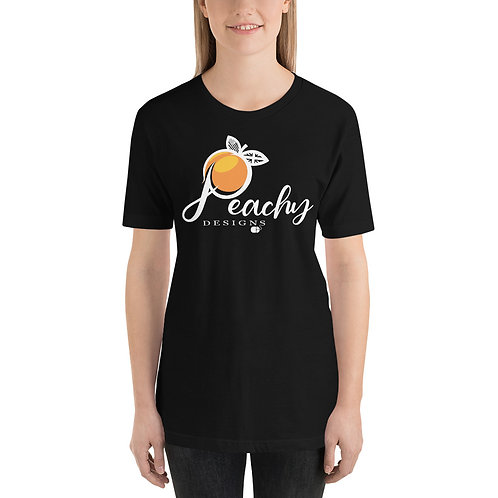 'White' Peachy Designs Logo - Short-Sleeve Unisex T-Shirt