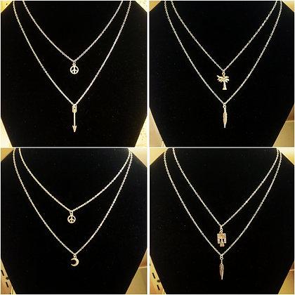 Double drop charm necklaces