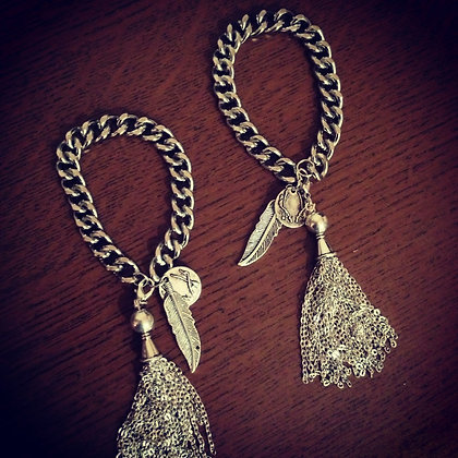 Chunky chain tassel bracelet