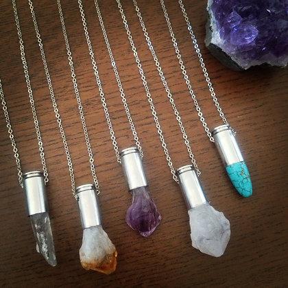 Crystal & gemstone bullet necklaces
