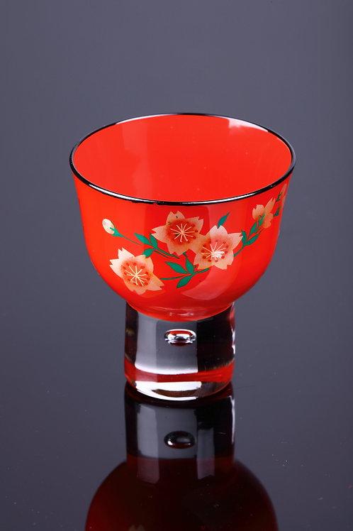 朱ぐい呑み山桜  漆器玻璃杯 181364