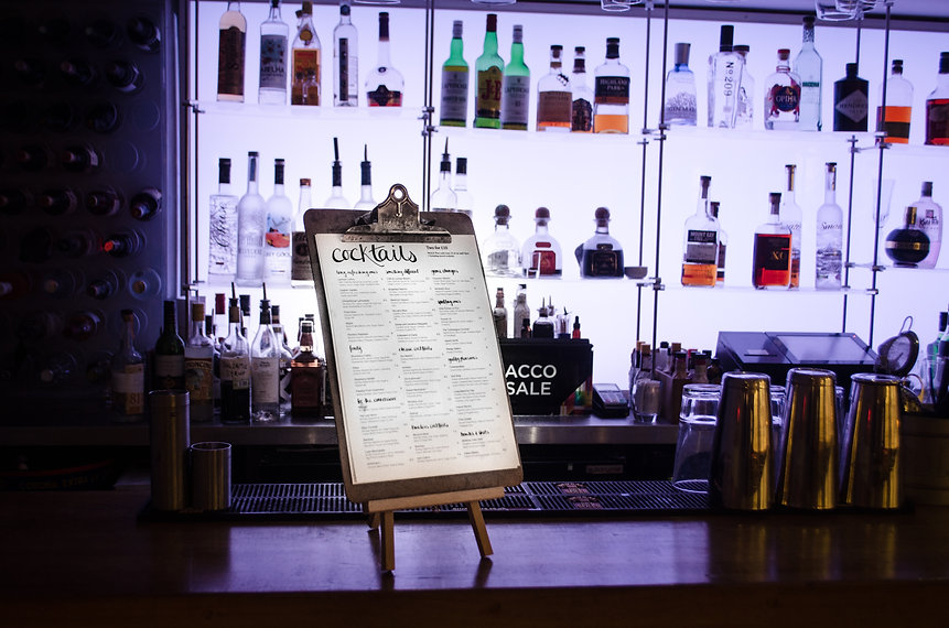Menu on stand white bar.jpg