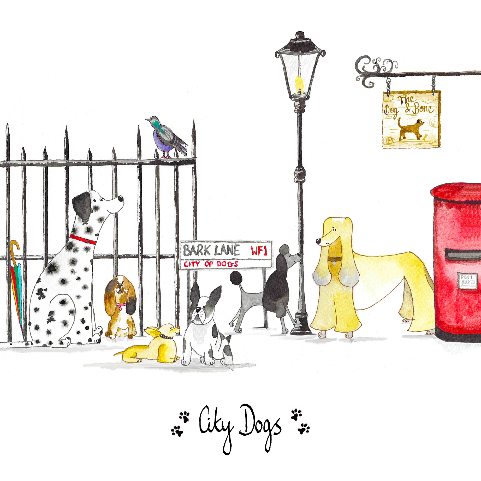 City Dogs Greeting Card