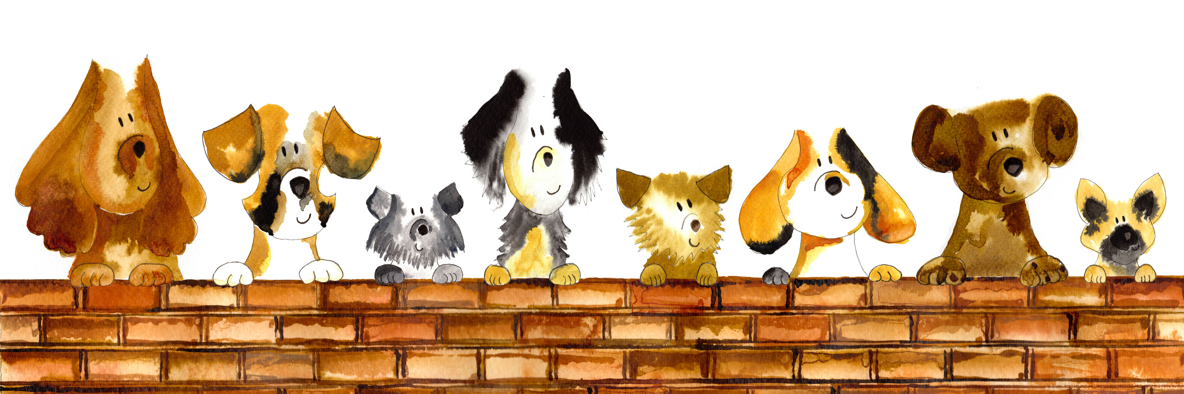 Dogs on a wall print