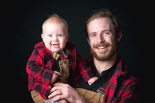 Father & Son Matching Outfit Portrait Image.