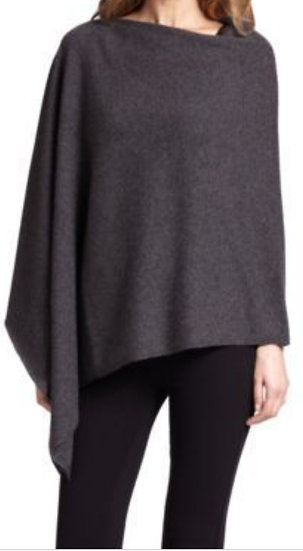 Saks 5th Avenue Cashmere Collection Poncho Charcoal Gray